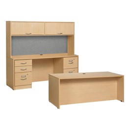 """Norwood Commercial Furniture Norwood Series Desk w/ Credenza & Flipper Hutch (60"""" W x 30"""" D) at ..."""
