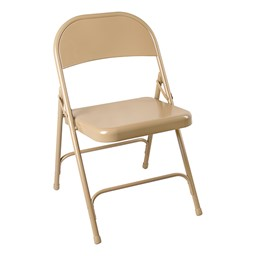 Blow-Molded Plastic Folding Training Table w/ Heavy-Duty Steel Folding Chairs - Chair - Beige