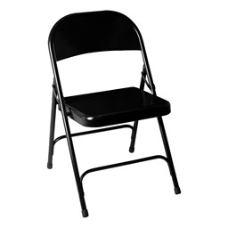 Blow-Molded Plastic Folding Training Table w/ Heavy-Duty Steel Folding Chairs - Chair - Black