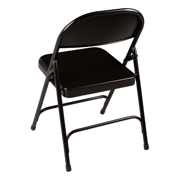 Blow-Molded Plastic Folding Training Table w/ Heavy-Duty Steel Folding Chairs - Chair - Back