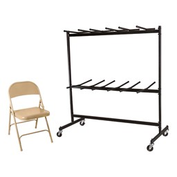 6600 Series Heavy-Duty Steel Folding Chair - Set of 120 Chairs w/ 2 Dollies