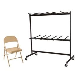 6600 Series Heavy-Duty Steel Folding Chair - Set of 120 Chairs w/ 2 Dollies
