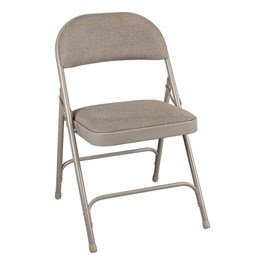 6600 Series Folding Chair w/ Fabric Upholstered Seat & Back - Gray fabric & gray frame