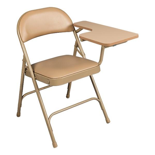 6600 Series Heavy-Duty, Vinyl-Padded Folding Chair w/ Tablet Arm - Left Handed - Beige