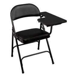 6600 Series Heavy-Duty, Vinyl-Padded Folding Chair w/ Tablet Arm - Left Handed - Black