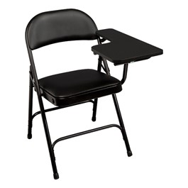 6600 Series Heavy-Duty, Vinyl-Padded Folding Chair w/ Tablet Arm - Left Handed - Black