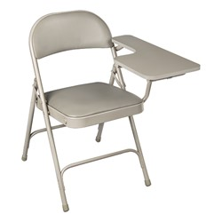 6600 Series Heavy-Duty, Vinyl-Padded Folding Chair w/ Tablet Arm - Left Handed - Gray