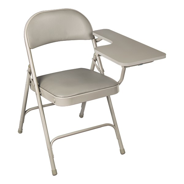 6600 Series Heavy-Duty, Vinyl-Padded Folding Chair w/ Tablet Arm - Left Handed - Gray