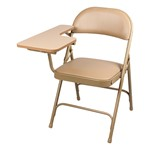 6600 Series Heavy-Duty, Vinyl-Padded Folding Chair w/ Tablet Arm - Right Handed - Beige