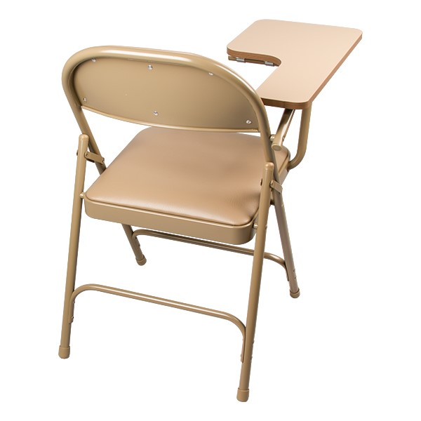 6600 Series Heavy-Duty, Vinyl-Padded Folding Chair w/ Tablet Arm - Back detail - Beige