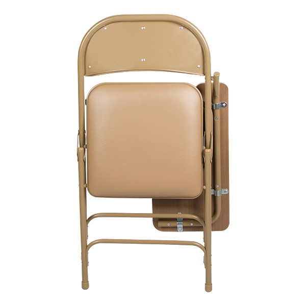6600 Series Heavy-Duty, Vinyl-Padded Folding Chair w/ Tablet Arm - Folded front view - Beige