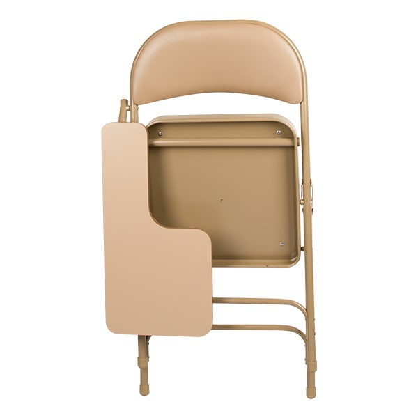 6600 Series Heavy-Duty, Vinyl-Padded Folding Chair w/ Tablet Arm - Folded back - Beige