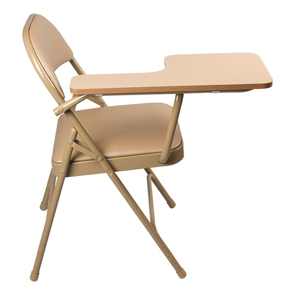6600 Series Heavy-Duty, Vinyl-Padded Folding Chair w/ Tablet Arm - Side detail - Beige
