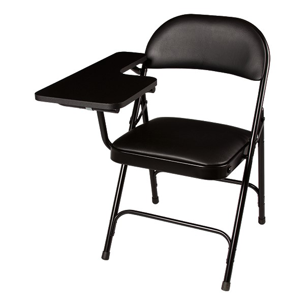 6600 Series Heavy-Duty, Vinyl-Padded Folding Chair w/ Tablet Arm - Right Handed - Black w/ black tablet arm
