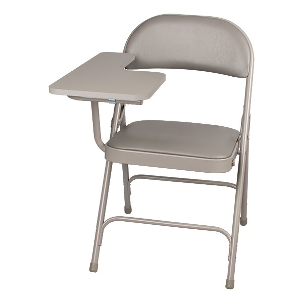 6600 Series Heavy-Duty, Vinyl-Padded Folding Chair w/ Tablet Arm - Gray