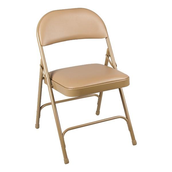 6600 Series Heavy-Duty Folding Chair w/ Vinyl Upholstered Seat & Back - Beige