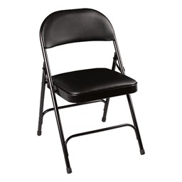 6600 Series Heavy-Duty Folding Chair w/ Vinyl Upholstered Seat & Back - Black