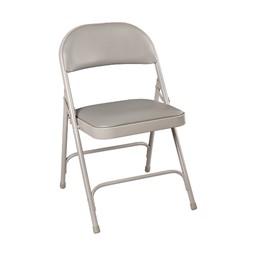 6600 Series Heavy-Duty Folding Chair w/ Vinyl Upholstered Seat & Back - Gray