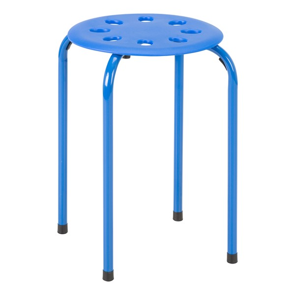 Assorted Color Plastic Stack Stool - Blue