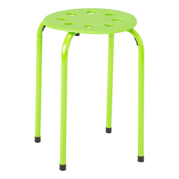 Assorted Color Plastic Stack Stool - Green