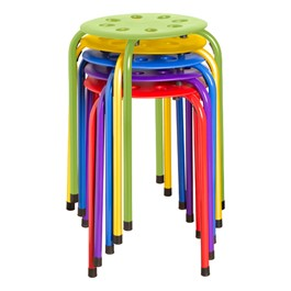 Assorted Color Plastic Stack Stool - Shown stacked