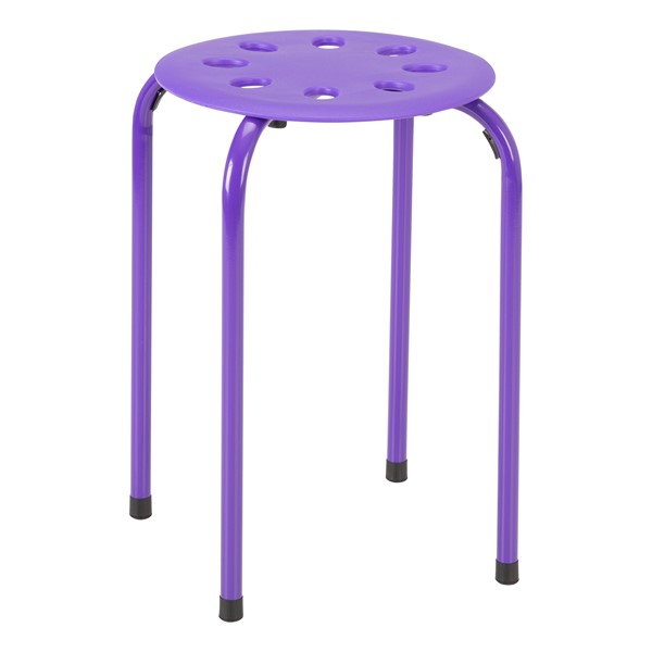 Assorted Color Plastic Stack Stool - Purple