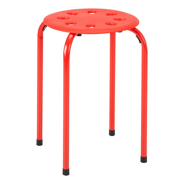 Assorted Color Plastic Stack Stool - Red