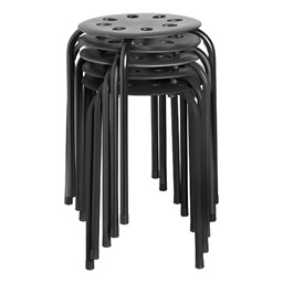 Plastic Stackable Stool - Black - Stacked