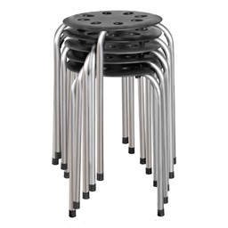 Plastic Stackable Stool - Black w/ Silver Legs - Stacked