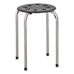 Plastic Stackable Stool - Black w/ Silver Legs