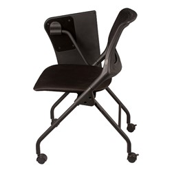 Mesh Back Tablet Arm Nesting Chair - Side view - Shown w/ tablet folded down