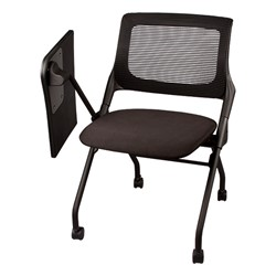 Mesh Back Tablet Arm Nesting Chair - Shown w/ tablet folded down