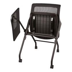 Mesh Back Tablet Arm Nesting Chair - Shown w/ seat & tablet folded for nesting