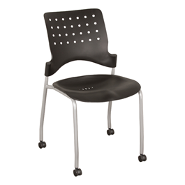 Ballard Mobile Plastic Stack Chair - Black