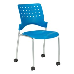 Ballard Mobile Plastic Stack Chair - Brilliant Blue