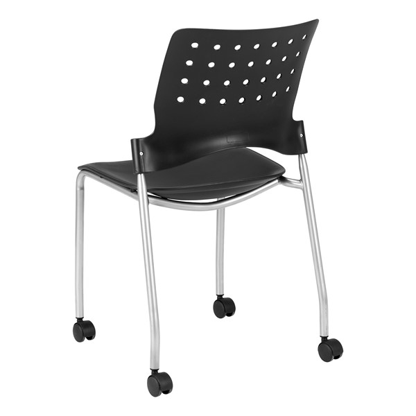 Ballard Mobile Plastic Stack Chair - Black w/ silver frame
