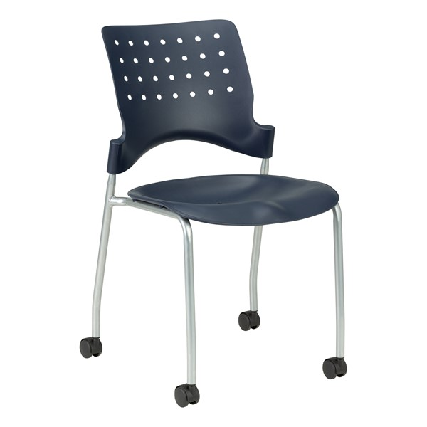 Ballard Mobile Plastic Stack Chair - Navy