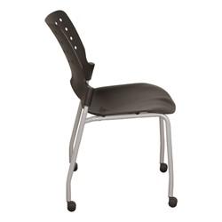 Ballard Mobile Plastic Stack Chair - Black w/ silver frame