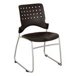 Ballard Plastic Stack Chair - Black w/ silver frame