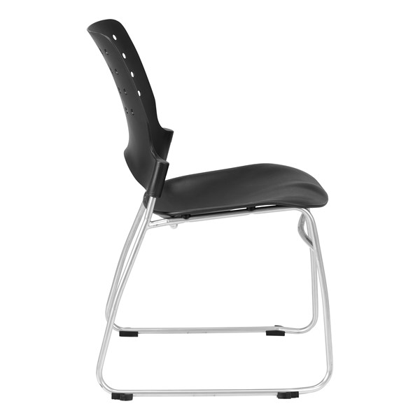 Ballard Plastic Stack Cafeteria Chair - Black w/ silver frame
