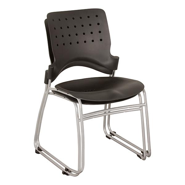 ... Ballard Plastic Stack Chair   Black W/ Silver Frame ...