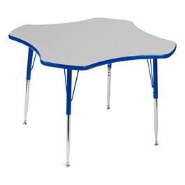 Clover Adjustable-Height Activity Table - Gray Top, Blue Edge Band