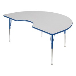 Kidney Adjustable-Height Activity Table - Gray Top, Blue Edge Band