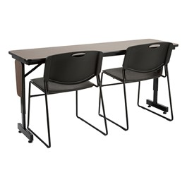 "Adjustable-Height Panel-Leg Folding Training Table w/ Heavy-Duty Plastic Stacking Chairs (60"" W x 18\"" D)"