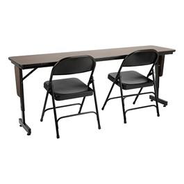 "Adjustable-Height Panel-Leg Folding Training Table w/ 6600 Series Heavy-Duty Steel Folding Chair (72\"" W x 18\"" D)"