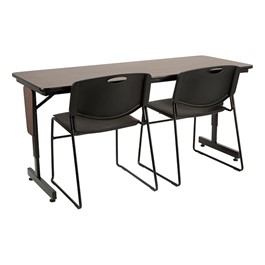 """Adjustable-Height Panel-Leg Folding Training Table w/ Heavy-Duty Plastic Stacking Chairs (60\"""" W x 24\"""" D)"""