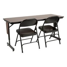"Adjustable-Height Panel-Leg Folding Training Table w/ 6600 Series Heavy-Duty Steel Folding Chair (60\"" W x 24\"" D)"