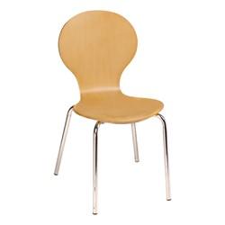 Square Pedestal Café Table and Natural Wood Café Chair Set - Chair