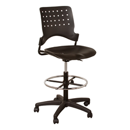 Ballard Adjustable-Height Drafting Stool w/ Chrome Foot Ring