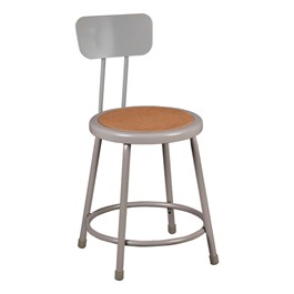 "Metal Lab Stool w/ Backrest - Fixed Height (18"" H)"